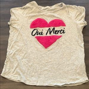 H&M 💗Oui Merci with furry pink heart shirt 14Y+